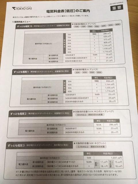 東京ガス 電気料金表【低圧】のご案内
